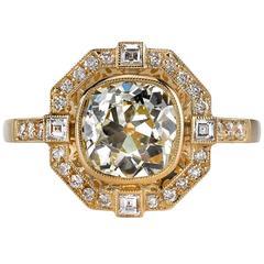 Art Deco 1.71 Carat Diamond Gold Engagement Ring