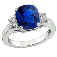 Amazing 3.01 Carat Sapphire Diamond Platinum Engagement Ring