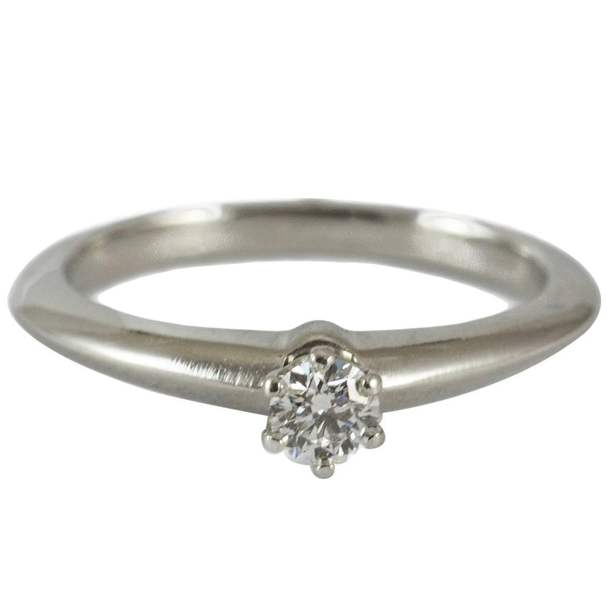 Tiffany and Co Delicate Diamond Platinum Solitaire Ring at 1stdibs