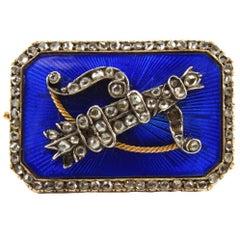 Erik Kollin Gold Russian Guilloche Enamel Diamond Arrow and Bow Brooch