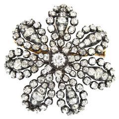 Victorian Old Cut Diamond Floral Pendant Brooch