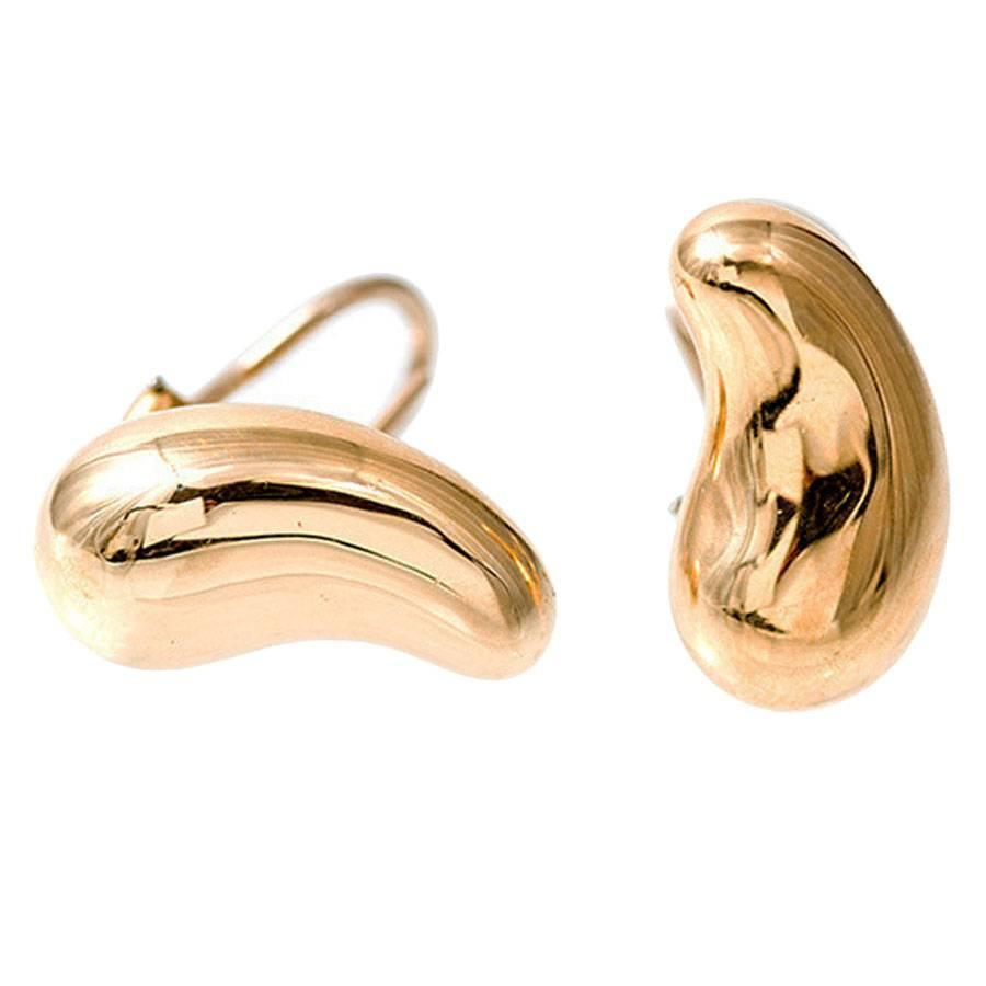 Tiffany And Co Peretti Clip Post Gold Bean Earrings For Sale At 1stdibs