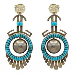 Tribal Turquoise Gold Dangling Post Earrings