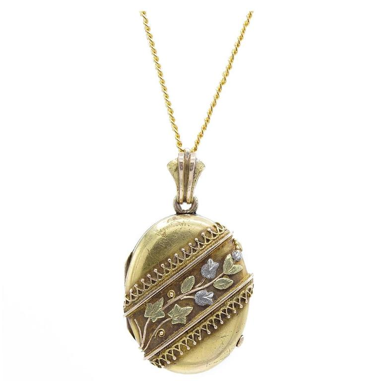 Antique Multicolor Gold Platinum Locket with Band of Flowers and Leaves 1