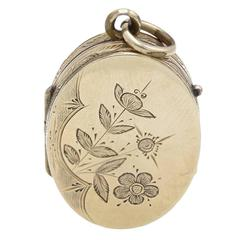 Engraved Floral Locket with Daisy and Lily
