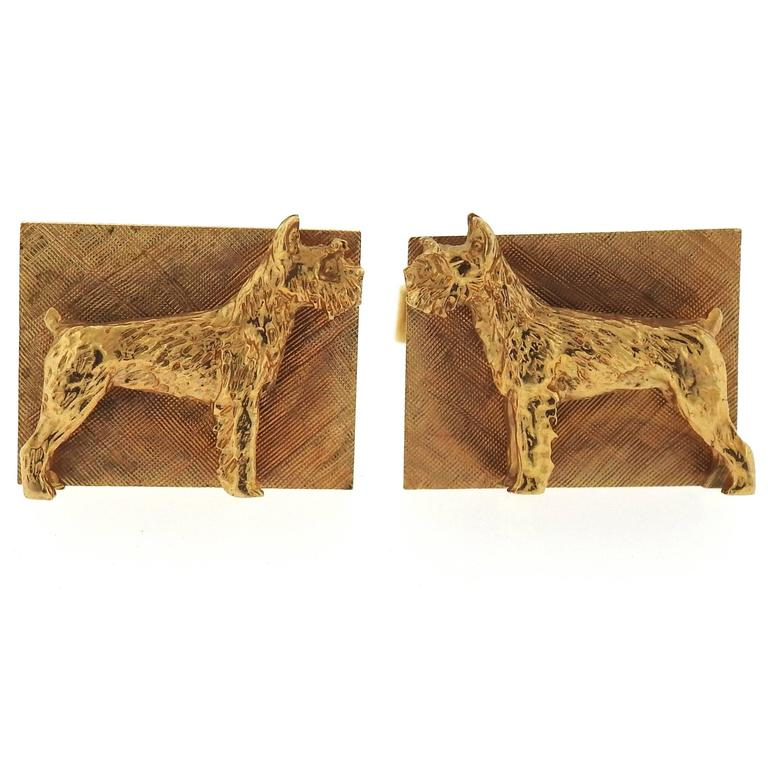 Mid Century Schnauzer Dog Large Gold Cufflinks