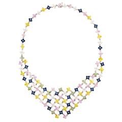 Multicolor Sapphire Diamond Gold Flower Necklace