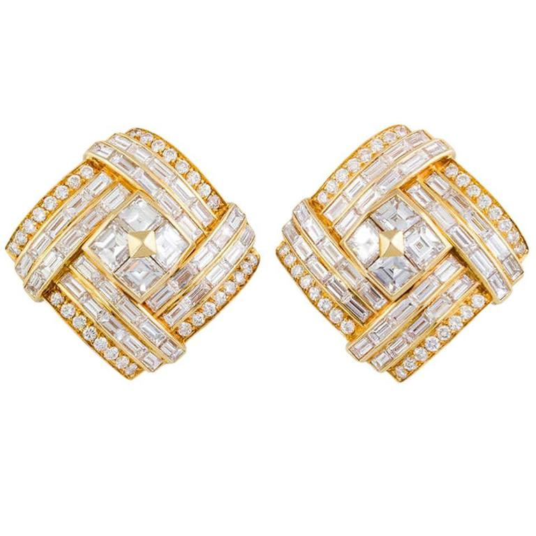 1980s Bulgari Important Diamond Gold Earclips 1
