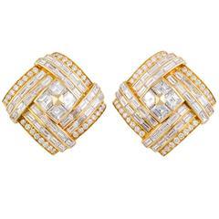 1980s Bulgari Important Diamond Gold Earclips