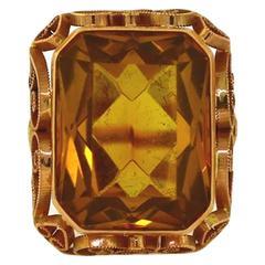 1960s Orange Glass Rectangle Center Stone Gold Milgrain Scroll Ring
