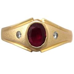 1950s Synthetic Ruby and Diamond Yellow Gold Ring