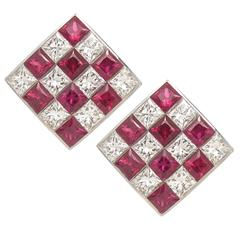 Tiffany & Co. Ruby Diamond Gold Checkerboard Earrings