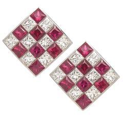 Tiffany & Co. Ruby Diamond Gold Checkerboard Earrings