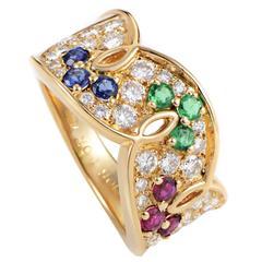 Dior Precious Gemstone Pave Gold Band Ring