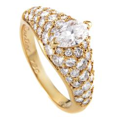 Cartier Marquise Diamond  Gold Engagement Ring