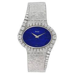 Piaget Ladies White Gold Diamond Lapis Bracelet Wristwatch