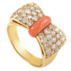 Van Cleef & Arpels Coral Diamond Pave Gold Bow Ring