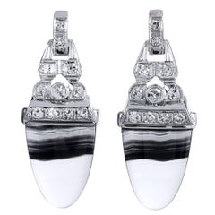 Art Deco Style Up-Cycled Banded Agate Diamond Platinum Earrings