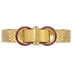 John Rubel Ladies Yellow Gold Diamond Ruby Covered Wristwatch