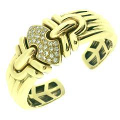 Diamond Pave Gold Wide Ridged Cuff Bangle Bracelet