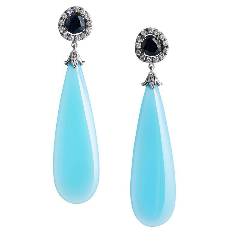 Laguna Blue Agate Black Spinel Diamond Gold Dangle Earrings