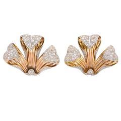 1940s Portuguese Diamond Gold Dress Clips