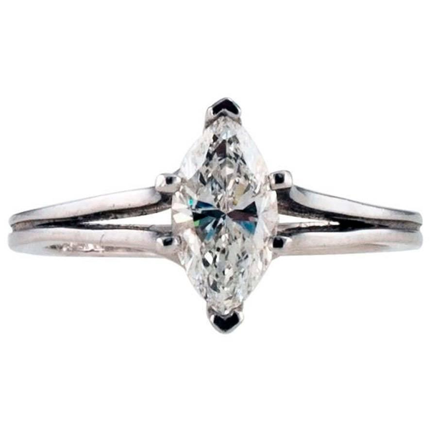 D Color Marquise Diamond Platinum Engagement Ring