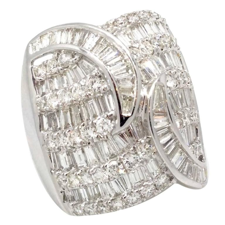 Wide Domed Baguette Round Diamond Gold Ring