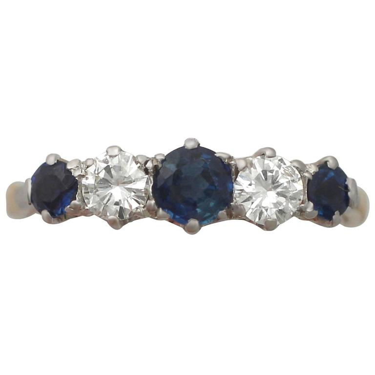 1910s Sapphire and Diamond Yellow Gold Cocktail Ring