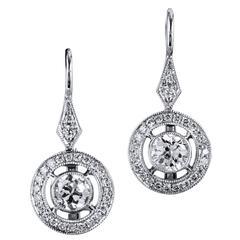 Old European Cut Diamond Gold Halo Earrings