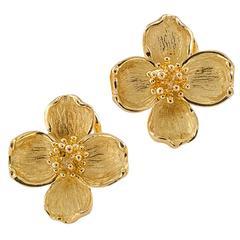 Tiffany & Co. Gold Dogwood Flower Earrings