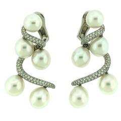 Chanel Pearl Diamond Gold Earrings