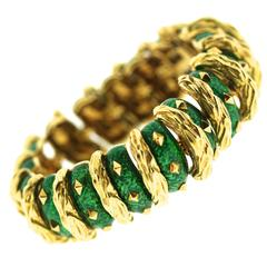 David Webb Enamel Gold Bracelet
