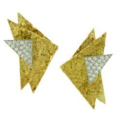 Marianne Ostier Diamond Gold Platinum Ear Clips