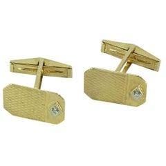 Retro Diamond Gold Cufflinks Estate Fine Jewelry