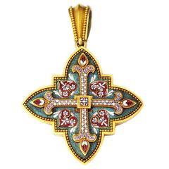 Victorian Italian Micro-Mosaic Gold Ernesto Pierret Pendant