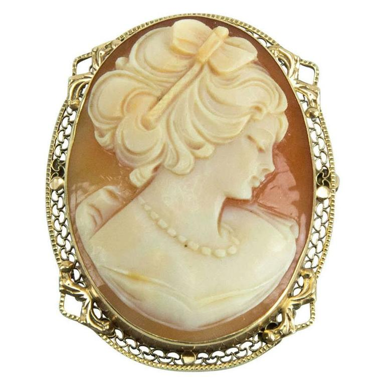 Art Deco Shell Cameo Gold Pin Pendant 1