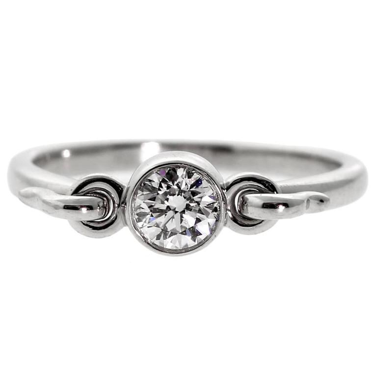 Tiffany and Co Diamond Platinum Solitaire Ring For Sale at 1stdibs