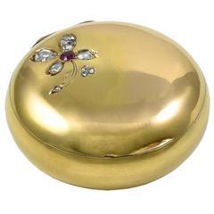 Antique Gold Four-Leaf Clover Pill Box