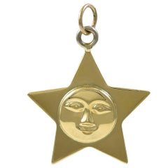 Man-in-the-Moon Star Gold Charm