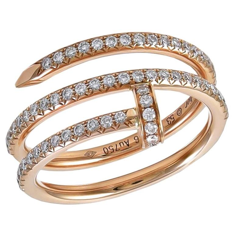CARTIER Juste un Clou Rose Gold and Diamond Ring For Sale