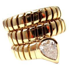 Bulgari Tubogas Diamond Gold Coil Snake Band Ring
