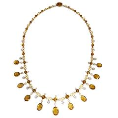 Antique Citrine White Sapphire Seed Pearl Gold Necklace