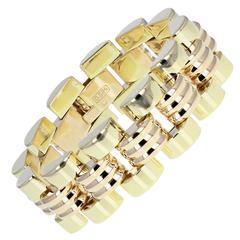 Two Color Gold Brick Style Bracelet