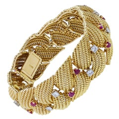 Sanz Ruby Diamond Gold Twist Rope Effect Bracelet