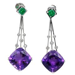 Claris. A Amethyst Emerald Gold Dangle Earrings