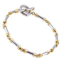 1995 Scott Kay Diamond Gold Platinum Link Bracelet