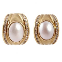 Mother of Pearl Diamond Gold Earrings