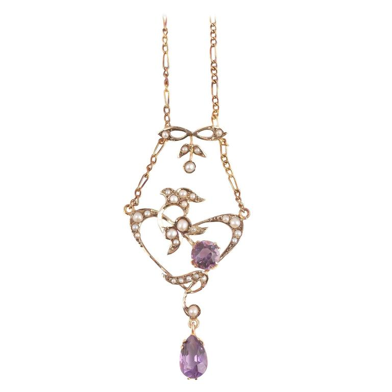 Amethyst Seed Pearl Gold Lavalier Necklace