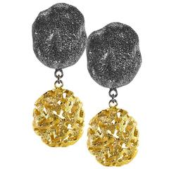 Alex Soldier Ltd Ed Silver Gold Platinum Textured Drop Earrings